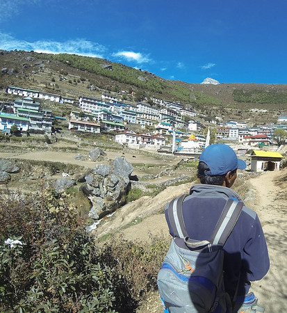 This is the first view of Namche Bazar. The man in the foreground is Tashi Sherpa, my guide
